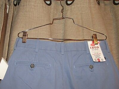 NWT new IZOD mens 32 x 32 light blue saltwater chinos pants flat front cotton