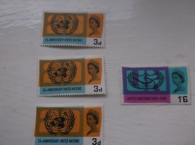 British Stamps 1965 20th Anniversary of United Nations (478) SG681/82