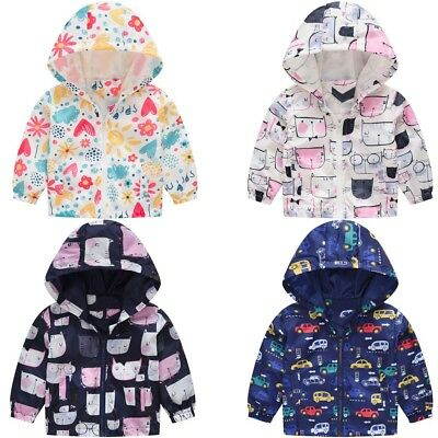 Infant Toddler Kids Baby Girls Boys Cartoon Spring Hooded Coat Casual Jacket Top