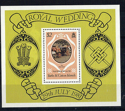 Turks & Caicos Islands 1981 Royal Wedding $2 Miniature Sheet Mnh