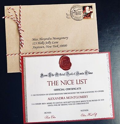 Personalized Letter From Santa Claus Nice List Certificate From North Pole