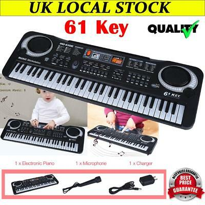 Electric Keyboard Digital Music Piano 61 Keys Instrument Microphone Xmas Gifts