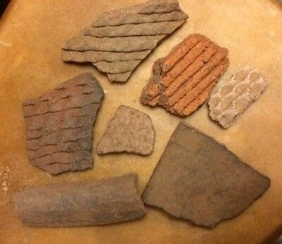 7Pcs Ancient Louisiana Hand Stamped Clay Pottery Shards Native American Mounds