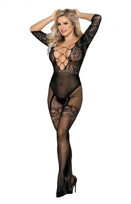 Transparent Catsuit Bandeau Bodystocking Netz Nylon Dessous Strapse S/M/L