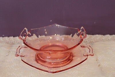 Pink Depression Glass Relish Bowl And Tray Set