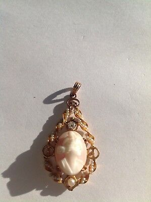 Victorian  Angel Skin Coral Cameo 10k gold seed pearls diamond pendant