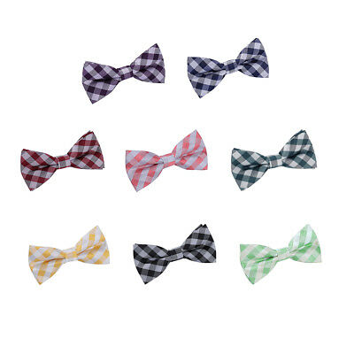 DQT Woven Gingham Check Checkered Casual Classic Mens Pre-Tied Bow Tie