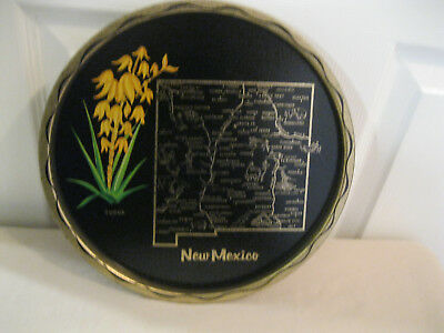 Vintage State of New Mexico Souvenir Tray Black Gold Metal Travel Map Flower