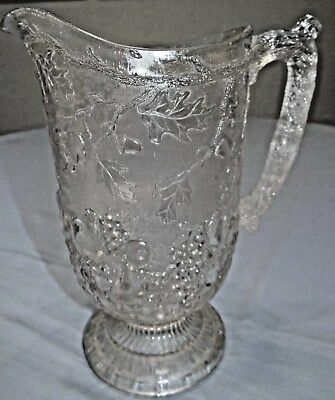 EAPG Beatty-Brady #105 Frosted Fruit Pitcher Oak Tree Leaf Acorns Antique Glass