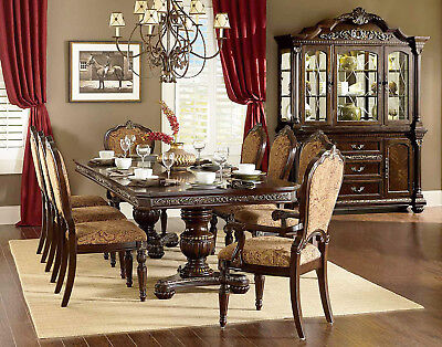 Cleopatra Ornate Classic Cherry Brown 5PC Formal Dining Room Set Table &4 Chairs