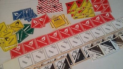 Lot of Warning Safety Label Stickers - DOT Hazardous Container Markings