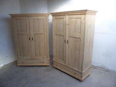 A Stunning Pair of Antique/Old Pine Knockdown Wardrobes to Wax/Paint