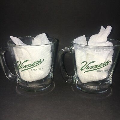 (2) vintage VERNORS glass cups--100th ANNIVERSARY 1966--ginger ale--NOS NEW