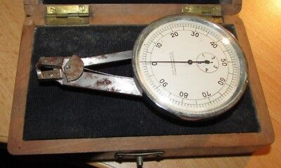 Thickness Gauge Precision Dial Micrometer In Wood Box Swiss Made