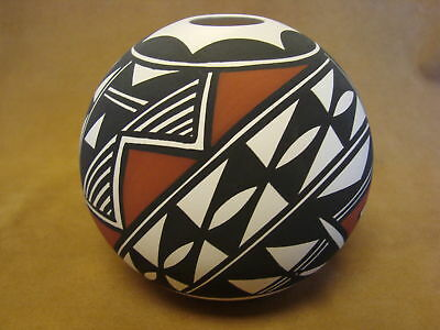 Native American Acoma Indian Pottery Hand Painted Seed Pot by N. Victorino PT016