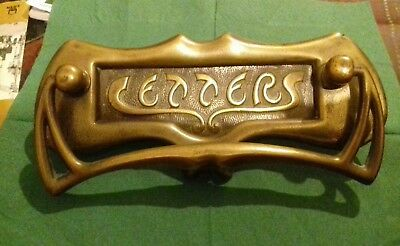 Antique Art Nouveau Brass Letterbox