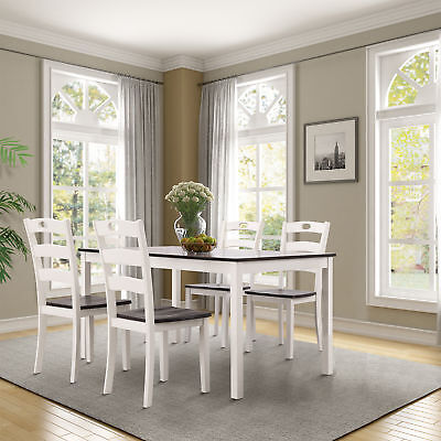 5PCS Acacia Wood Dining Table and Chairs Wooden Kitchen Dining Sets White/Black