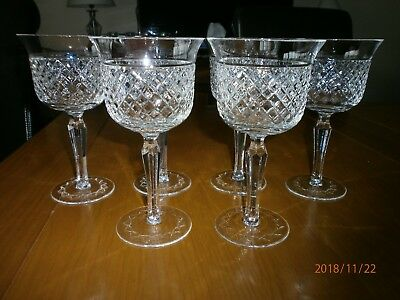 6 Cut Glass Wine Glasses from Poland