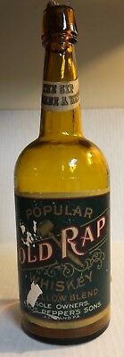 Old Rap Labeled Whiskey Bottle 3 PC MOLD Ashland, PA Yellow Amber 1860s