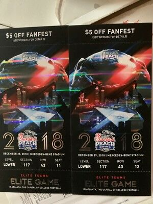 Chick-fil-a Peach Bowl Tickets 2 LOWER Level With Fanfest Ticket Discount