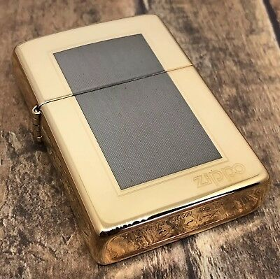 1994 Vintage Zippo Lighter - Two Tone Gold and Silver - The Frame - Unfired