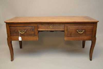 Antique Country Elm French Partners Desk Faux Drawers on one Side,Brass Handles.