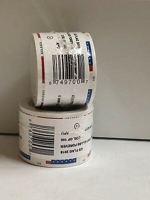 400 USPS Forever Stamps Sealed 4Rolls Of 100 US Flag 2018