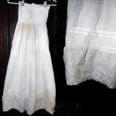 Antique Victorian Edwardian Pleat Embroidered Romantic Dress Petticoat XS as is