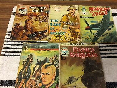 joblot of 5 war picture library etc comic books pre decimal coin