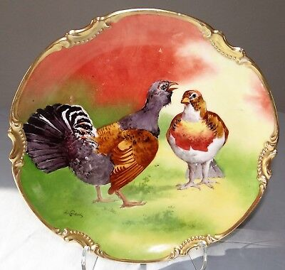 Antique Limoges Coronet Hand Painted GAME BIRD Charger Plate Signed L. Coudert