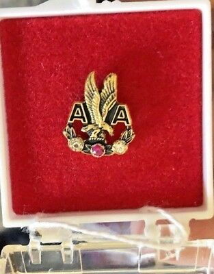American Airlines 25 Year Service pin w diamonds, ruby EXCELLENT Condition