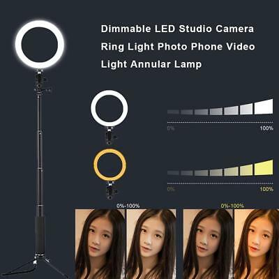 Dimmable LED Studio Camera Ring Light Photo Phone Video Light Annular Lamp Kit