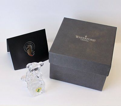 Waterford Crystal Tender Animals Teddy Bear on Block Figure/Figurine Engravable