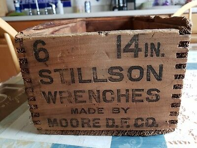 """Old Wood Shipping Crate STILLSON WRENCHES Box Hardware Store Rustic 6 -14"""""""