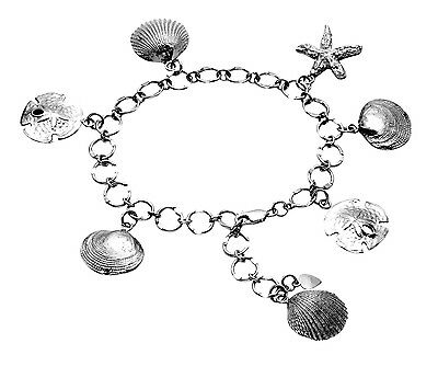 Sterling Silver Sand Dollar, Clam Shell, Scallop Shell & Starfish Bracelet BR05