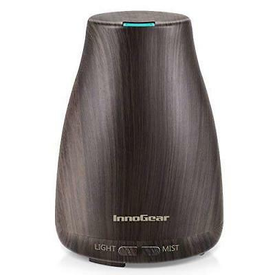 Aromatherapy Oil Diffuser Wood Grain Cool Mist Humidifier 7 Colors LED Lights