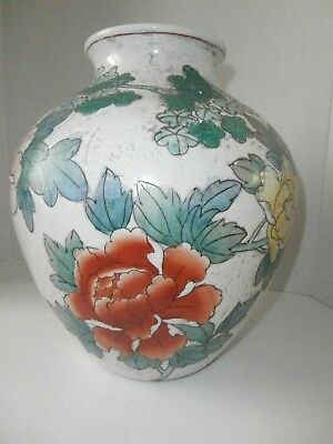 """Vintage Large Heavy Chinese Jiaqing Floral Vase 11"""" Tall"""