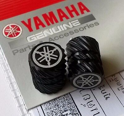 2 x Yamaha Tyre Wheel Dust Valve Caps Tuning Fork BLACK ** GENUINE & UK STOCK **