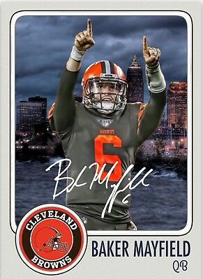 Baker Mayfield QB Cleveland Browns Custom Card Rookie RP Signed Autographed ef6672918