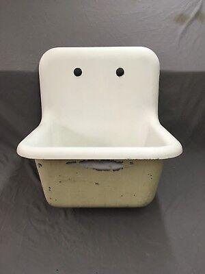 Antique Cast Iron White Porcelain High Back Utility Laundry Slop Sink 626-18E