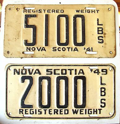 2 NOVA SCOTIA License Plates Tags 1941 and 1949  - Low Shipping