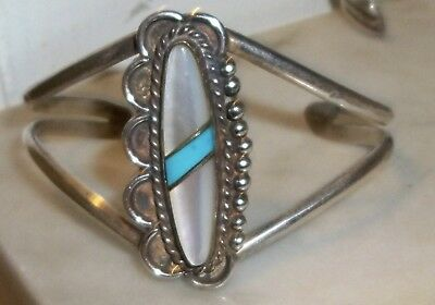Vintage Sterling Silver Old Pawn Cuff Bracelet Large Turquoise Stone Mop Navajo?