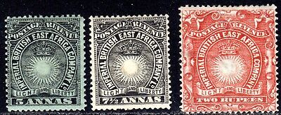 (A-342) British East Africa 1890-94 Sc#21,22,27 MH (#27 has a thin)