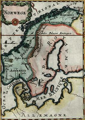 Scandinavia Norway Sweden 1719 charming old Mallet miniature map hand color