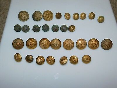 Large Lot of Antique Pre-WWI Spanish-American War Military Buttons