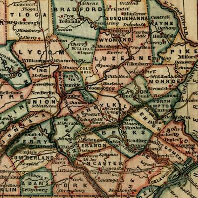 Pennsylvania state 1855 Ensign & Phelps attractive small antique color map