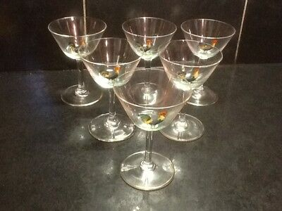 Set six Art Deco Cocktail Glasses with hand-painted cockerels