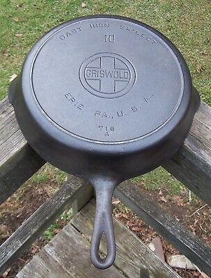 Antique Griswold Cast Iron #10 Large Logo Skillet p/n 716 A - 2 Tight Hairlines