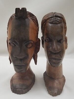Hand Carved Wood Man Woman Sculpture African Tribal Art Head Statue Figures pair