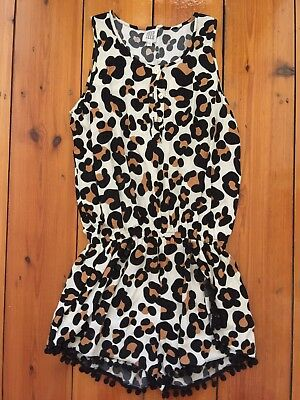 EXCELLENT CONDITION Seed Teen size 12, Girls Leopard Print Pom Pom Trim Playsuit